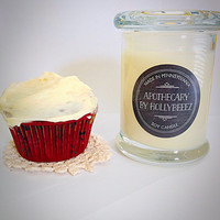 Scented soy candle Red Velvet Cupcake gift for her hand made bridesmaids gift party favor