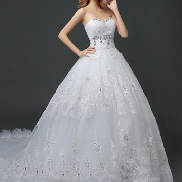 Wedding Dress Lace Crystal Sequin Strapless Designer Gown Princess