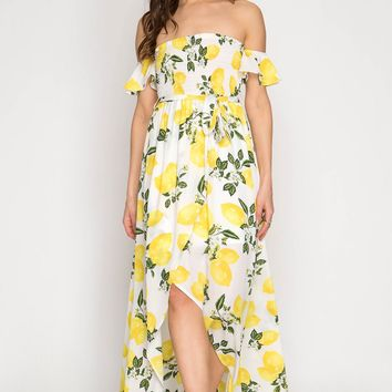 Lemon Print Off Shoulder Hi-Low Maxi Dress
