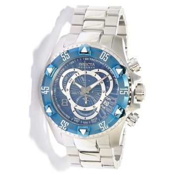 Invicta 11009 Men's Reserve Excursion Blue Bezel Textured Blue Dial Chronograph Stainless Steel Dive Watch