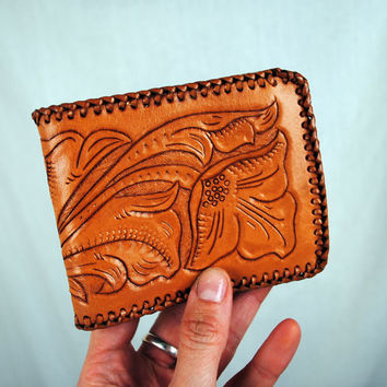 Les's Vintage Tooled Leather Wallet by RogueRetro on Etsy