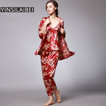 YINSILAIBEI Women Satin Sleepwear Female Silk Pajama Sets Ladies Pyjamas Plus Size Dragon Print Women Home Clothing Homewear #10