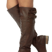 Brown Slouch Faux Leather Knee High Riding Boots