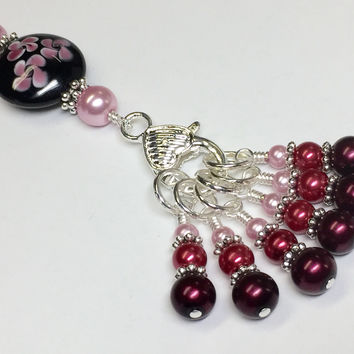 Beaded Stitch Marker Holder Set- Ombre Pearls and Flowers