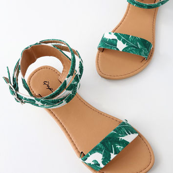 Seaview Green and White Tropical Print Ankle Strap Flat Sandals