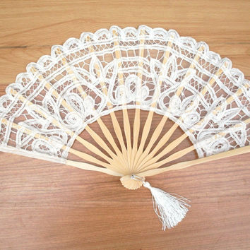"""New 25"""" Ivory Handmade Embroidered Lace Parasol Sun Umbrella + Lace Fan Bridal Wedding Birthday Party Decorations Free Shipping"""