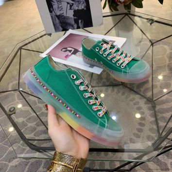 Kuyou Gx19712 Converse All Star Color Tag Jelly Rainbow Bottom Green Canvas Sneakers