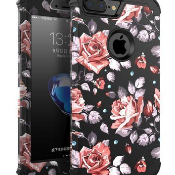CREYV2S OBBCase 7plus case rose IPhone 7 Plus Case, Three Layer Hybrid Sturdy Armor High Impact Resistant Protective Cover, 5' L, Rose Flower/Black