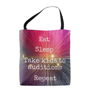 """Eat Sleep Repeat Auditions"" quote pink tote bag"