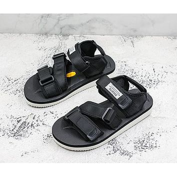 Suicoke Kisee-v Webbing Vibram Rubber Black Sandals Slippers