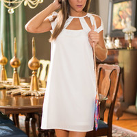 Cut Out On The Town Dress, White