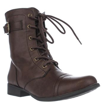 AR35 Faylln Lace Up Combat Boots, Brown, 6 US
