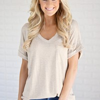 Oatmeal V-Neck Pocket Tee