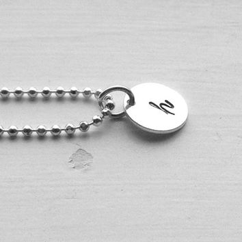 Letter h Charm Necklace, Initial Necklace, Hand Stamped Jewelry, Initial Jewelry, Letter h Pendant, Small Initial, Sterling Silver Jewelry,