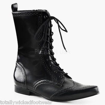 Brogue 10 Mens Black Pointy Toe Dress Lace Up Ankle Boot Goth 8-13