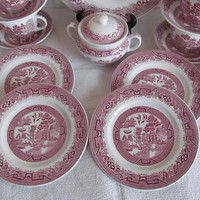 4 Red Plates Red Transferware willow Pattern Ridgeways North Staffordshire England Red Willowware Red Transferware Plates Pink Willow Plates