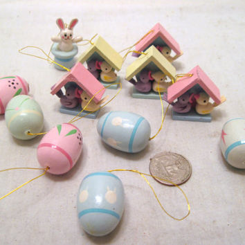 Miniature, Easter, Tree, Wood, Ornament, Set, Eggs, Bunny, Birdhouses, Baby, Mother, Bird, Pastel, Wooden, Decor, Spring, Small, Tiny, Gift