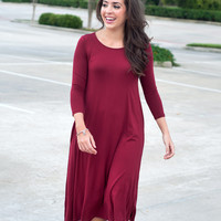 Everyday Flowing Dress | Wine | Size M-3XL | Dress | Fall 816