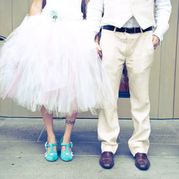 Chic Mode - Mid-length SEWN tulle skirt - half poof - bride or bridesmaid tutu skirt - Made to order - Knee length, Many colors