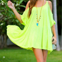 Neon Strappy Ruffled Mini Dress