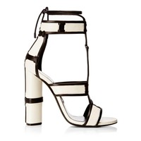 FINAL SALE - White Patch Work Lace Up Caged Heels Sandals