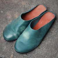 Retro Genuine Leather Handmade Shoes Flat Sandals Pure Color Slippers