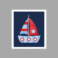 Nautical Nursery Decor Baby Boy Sailboat Light Blue Red Navy CUSTOMIZE YOUR COLORS 8x10 Prints Nursery Decor Print Art Baby Room Decor Kids