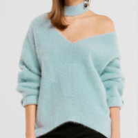 New sexy off-the-shoulder imitation mane loose fashion lazy sweater female explosion models