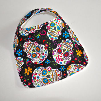 Baby bib, Sugar skulls baby bibs, Day of the Dead Baby bib, Halloween baby bibs, Sugar skulls bib, Day of the dead bibs, Halloween bib
