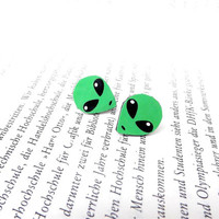 Green alien stud earrings, Alien earrings, Alien jewelry, Green alien, Stud earrings, Universe earrings, Marss earrings, Space jewelry
