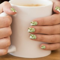 Sage Green Leaf Pattern Minx Nail Art