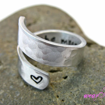 Personalized.. I Love You to the Moon and Back Ring - Personalized Ring - Adjustable Aluminum Wrap Ring.. Best Gift. Gift....