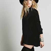 Free People Womens Queen of Diamonds Burnout Mini Dress - Black