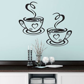 New Double Coffee Cups Wall Sticker PVC Vinyl Art Wall Decals Adhesive Stickers Kitchen Room Decor