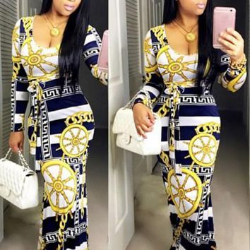 Floral Tribal Print Scoop Neck Long Sleeve Bodycon Fashion Maxi Dress