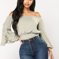 Giselle Off Shoulder Top - Sage