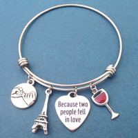 Because two people fell in love, Pinky, Promise, The Eiffel Tower, Wine, Glass, Silver, Bangle, Bracelet, Birthday, Lovers, Gift, Jewelry