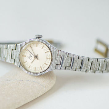 Vintage women's watch bracelet Ray – cocktail watch her - mechanical lady watch - Quality Mark lady watch - silver shade party watch her