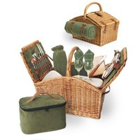 Picnic Time Somerset English-Style Double Lid Willow Picnic Basket with Service for 2