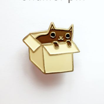 Black Cat in a Box Enamel Pin / Cat Pin / Cat Enamel Pin by Susie Ghahremani / boygirlparty