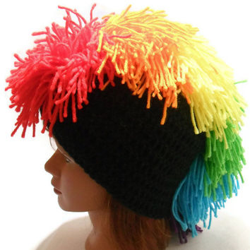 Crochet Rainbow Mohawk Beanie Hat in Black