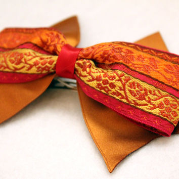 Red Orange Gold Hair Bow Barrette Accessory