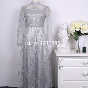 Gorgeous Silver Turtleneck 3/4 Long Sleeves Long Women Dress Elegant Silver Stamp Sequins Sheer Mesh Maxi Dress Evening Vestidos
