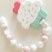 Cupcake Teething Toys with Pacifier Clip Girl, Baby Gift Set (Pink, Pearl)
