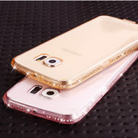 For Samsung S6 Bling Glitter Diamond Soft TPU Slim Case For Samsung Galaxy S6 G9200 Candy Color Crystal Clear Mobile Phone Cover