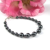 Large Size Hematite Gemstone Beaded Bracelet Dark Gray Sterling Silver