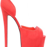 CORAL FAUX SUEDE ANKLE STRAP ULTRA HIGH PLATFORM HEEL PUMPS