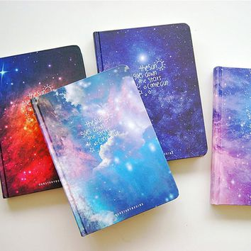 """Stars Come"" Journal Diary Lined Papers Hard Cover Any Year Planner Study Notebook Travel Notepad"