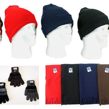 Cuffed Winter Knit Hats, Men's Knit Gloves, and As - CASE OF 180