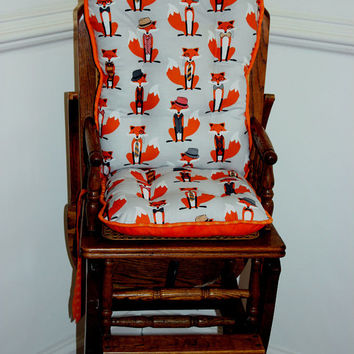 Fox & Houndstooth High Chair Cushions, High Chair Pads, High Chair Cover, Highchair Pads, Wooden Highchair Cover